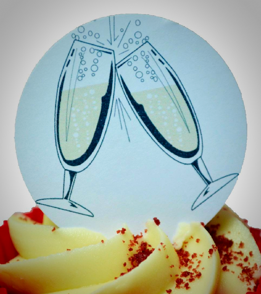 Edible cake toppers decoration - Champagne glasses